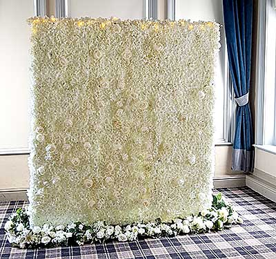 Artificial wedding flowers hire rose wall
