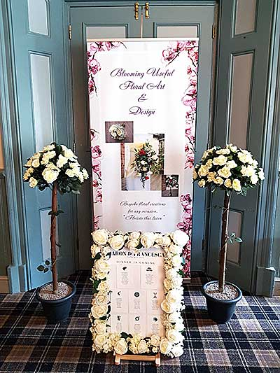 Artificial wedding flowers hire rose frame and trees